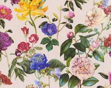 flowers Roses Vinyl Wallpaper Garden Vintage Retro Pink Textured paste the wall