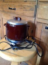 Pre Owned West Bend Crock With Lid And Electric Hot Plate.  Brown Crock.