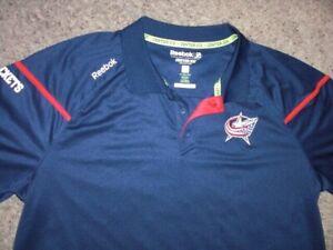 COLUMBUS BLUE JACKETS Reebok Center Ice Play Dry polo shirt men's 2XL