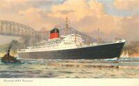 Artist impression Cunard line RMS Saxonia Steamship 1950s Postcard 21-1385