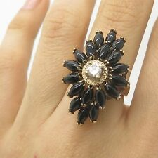 925 Sterling Silver Gold Plated Real Black Onyx Gemstone CZ Large Ring Size 7