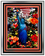 PETER MAX Original PAINTING Signed Statue of LIBERTY HEAD ART USA Delta AMERICA
