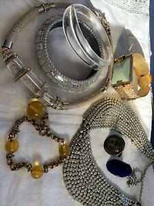 Lovely Art Deco Costume Jewellery Lot Lucite Enamel Mirrored