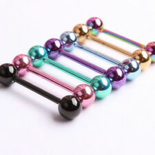 7Pcs 14G 316L Surgical Steel Barbell Bar Tongue Ring Stud Piercing Pin New