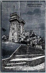 """IRISH HILLS, Michigan Postcard """"Irish Hills Towers"""" Foilex Printed in W. Germany"""