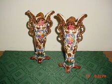 """2-PC OCCUPIED JAPAN/HAND PAINTED """"VASES"""" 8 1/2"""" FLORAL PATTERN/STAMPED/FREE SHIP"""