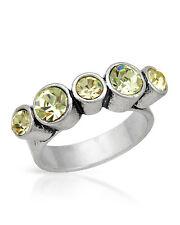 NEW PILGRIM SKANDERBORG, DENMARK Adjustable Yellow Crystal Ring in Metallic Base