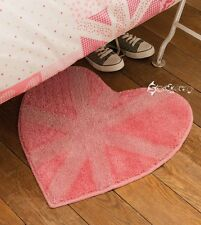 Catherine Lansfield Vintage Britannia Heart Shaped Pink Rug