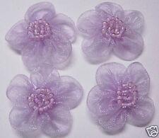 Organza Beaded Flower Appliques x 60 Lt. Purple - Dress