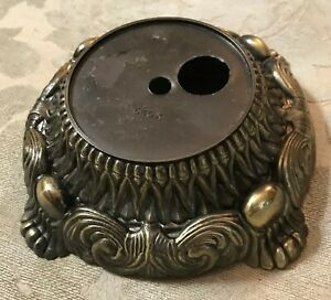 Antique Brass Finish Stamped Metal Ornate Lamp Base
