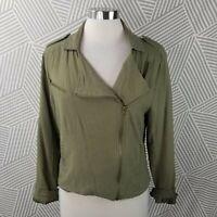Just Fab Linen Blend field Jacket Size Large Army Olive Green Safari zip Blazer