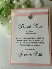 Thank You for Being Our Bridesmaid Card - Heart Charm with Ribbon