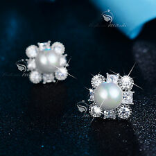 18k white gold gf made with SWAROVSKI crystal pearl wedding party stud earrings