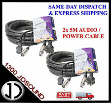 2x 5m Signal Audio 3pin XLR / Power Mains Cables for Powered Speaker