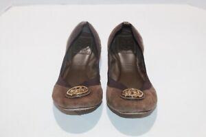 Tory Burch Caroline 2 Dark Brown Soft Ballet Suede Women's Size 8 M