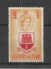 GIBRALTAR 1953 £1 SCARLET & ORANGE-YELLOW DEFINITIVE SG,158 M/M LOT 7490A