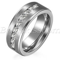 Men's Women's High Polish Stainless Steel Cubic Zircon Wedding Band Promise Ring