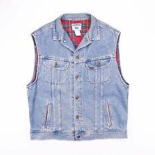 Vintage LEE Check Flannel Blue Sleeveless Denim Gilet Jacket Size Men's Large