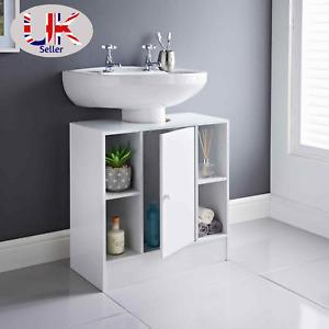 White Under sink Storage Unit 2 Open Cupboards & 1 Door Free Standing Cabinet