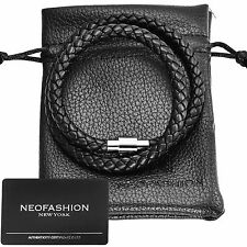 MEN'S TWIN LOOP PREMIUM BLACK NAPPA LEATHER BRAIDED BRACELET - ANY SIZE MAGNETIC