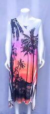 Pink shark bite hem embellished tropical tank dress travel beach JOSTAR -M