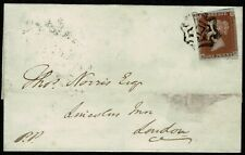 "1841 ONE PENNY RED-BROWN 1d SG8 ""HD"" ON COVER CANCELLED BY NORWICH MALTSE CROSS"