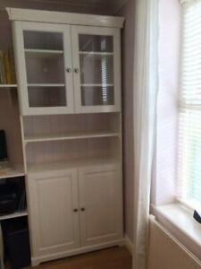 IKEA Liatorp 4 door bookcase, glass & wood doors, display cabinet, shelving