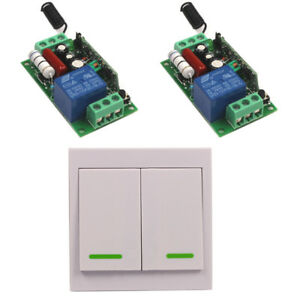 Home 110V 220V 10A Relay Wall Wireless Control Switch Transmitter+2 Receiver