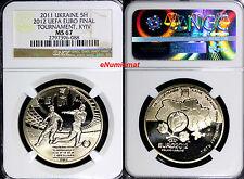 UKRAINE 2011 5 HRYWEN 2012 UEFA EURO FINAL ,KYIV NGC MS67   35 mm 16.4g.