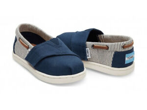 Toms Tiny Bimini Navy Canvas Stripe Baby Infant Toddler Espadrilles Shoes UK 3