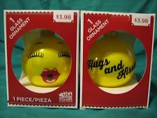 "0Ne Valentine Emoji Glass Ornament ""Hugs And Kisses !"" New In Box"