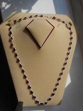 Hallmark Genuine Sterling Silver Red Garnet Single Link Chain Necklace (N19/22)