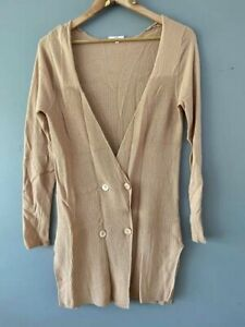SEED  Beige Long Cardigan Size S Casual Workwear Wool Cashmere Blend