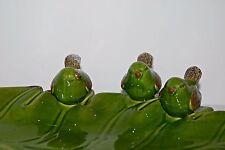 Ceramic Birdbath Bird Feeder Soap Dish Country French Rustic Leaf Garden Art New