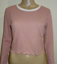 FOREVER 21 Waffle-Knit Crop Top Mauve/Cream Size UK Large VR47 023