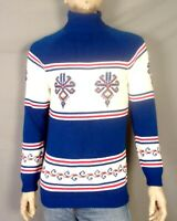 vtg 50s 60s Thick Bulky Geometric Turtleneck Knit Ski Sweater Downhill sz S/M