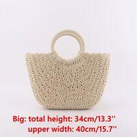 Women Wicker Handbag Totes Summer Beach Straw Woven Boho Rattan Basket Bag New