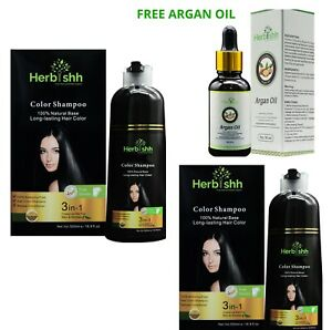 2 PCS 500ML HERBISHH COLOR SHAMPOO WITH COMPLEMENTARY ARGAN HAIR OIL- BROWN GOLD