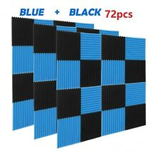 More details for 72pcs wall studio acoustic panels soundproofing blue & black wedge foam tiles uk