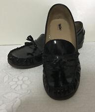 Mossimo women black patent synthetic Slip on Tassel Loafers 7.5M flat heel L581