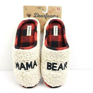 Dearfoams MAMA BEAR Womens Sixe XL 11-12 Memory Foam Fuzzy Slippers