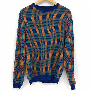 ASOS Mens Size Large Multicolor Check Wavy Funky Grandpa Ugly Sweater Knit