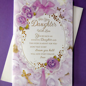 """Daughter Birthday Card Flowers With Lovely Special Nice Long Verse Large 9"""" x 6"""""""