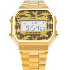 Casio GOLD CAMOUFLAGE MILITAR ÁRIDO A168WEGC-5 UNISEX watch orologio montre oro