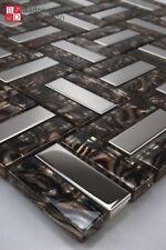 Mosaico de Cristal Azulejos VIDRIO ACERO INOX Marrón Plata 1m ² NUEVO
