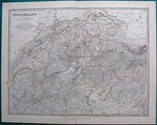 1880 ANTIQUE MAP - SWITZERLAND AND THE ALPS OF SAVOY & PIEDMONT