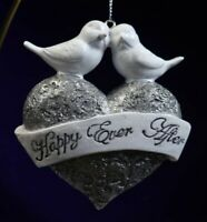 Happily Ever After Silver Heart Doves Glitter Resin Ornament