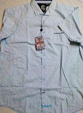 English Laundry White/Blue Geo Print S/S 100% Cotton Button Front Shirt XL NWT