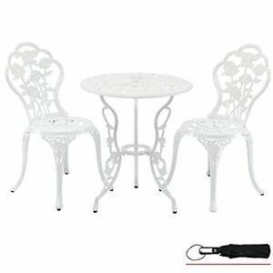 3-Piece Outdoor Patio Bistro Set Table and Chairs Furniture Rose White
