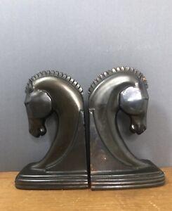 1940s Dodge Gladys Brown Edwards Trojan Horse Bronzed Metal Bookends